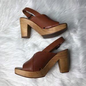 Zara wooden clog heels